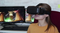 Young beautiful woman using vr glasses Stock Footage