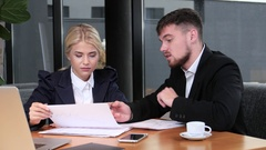 Business people discussing over lunch work current affairs Stock Footage