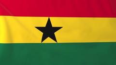 Flag of Ghana waving in the wind, seemless loop animation Stock Footage