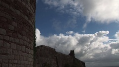 Clouds moving fast over castle Stock Footage