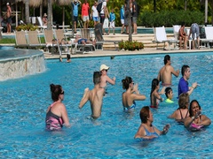 Mexico fun exercise recreation swimming pool DCI 4K Stock Footage