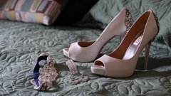 Bridal high heel shoes and accessories Stock Footage