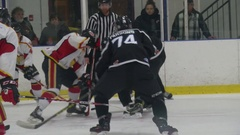 Hockey faceoff win allows for shot Stock Footage