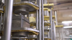 View of machinery at dairy plant at work Stock Footage