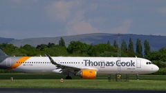THOMAS COOK AIRBUS A321 AIRCRAFT MANCHESTER Stock Footage