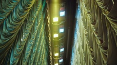 Vintage theater spot lights on the ceiling, the curtains Stock Footage