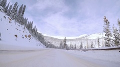 POV point of view - Driving through Berthoud pass after Winter storm. Stock Footage