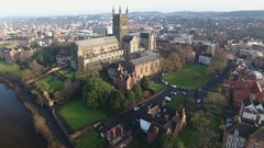 Static aerial view of Worcester Cathedral, UK. Stock Footage