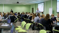 Practical seminar in audience of college. Students have gathered for a lecture Stock Footage
