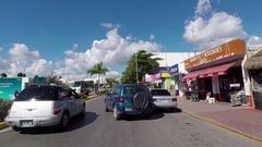 Mexico Playa Del Carmen driving city streets POV fast motion HD Stock Footage