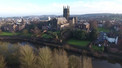 Low aerial view of Worcester Cathedral, UK. Stock Footage
