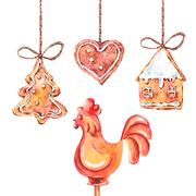 Watercolor sweet Christmas gingerbread cookies Stock Illustration