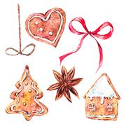 Christmas collection of gingerbread cookies Stock Illustration
