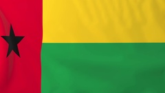 Flag of Guinea-Bissau waving in the wind, seemless loop animation Stock Footage