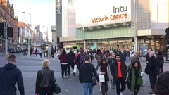 Time lapse Christmas shoppers INTU Victoria Centre Shopping Mall, Nottingham Stock Footage