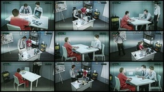 Rear view of a man in interrogation room monitoring multiple cctv footage Stock Footage