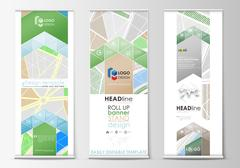 Set of roll up banner stands, geometric style, modern business concept Stock Illustration