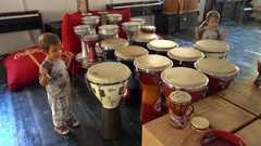 Child drums the tambour Stock Footage