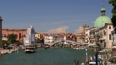 BOATS GRAND CANAL SCALZI BRIDGE VENICE VENEZIA Stock Footage