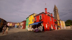 RED YELLOW GREEN HOUSES BURANO VENICE ITALY Stock Footage