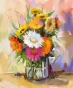 Oil painting still life gerbera flowers in Glass vase Stock Illustration