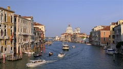 GONDOLAS FERRIES WATER TAXI GRAND CANAL VENICE Stock Footage