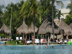 Mexico swimming pool tropical resort fun DCI 4K Stock Footage