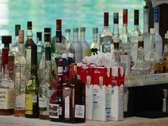 Mexico resort swimming pool bar alcohol bottles DCI 4K Stock Footage
