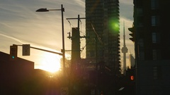 Golden sunset with silhouettes of buildings. Toronto, Canada. Stock Footage