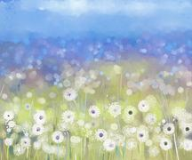 Abstract oil painting flowers plant. Dandelion flower in fields Stock Illustration