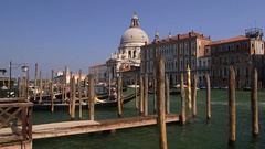 GONDOLA MOORING POSTS GRAND CANAL VENICE ITALY Stock Footage