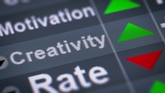 """Creativity"" on the screen. Up. looping. Stock Footage"