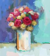 Oil painting red and yellow rose flowers in vase Stock Illustration