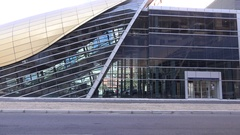 Closeup shot of Dubai metro station futuristic design glamorous transport place Stock Footage