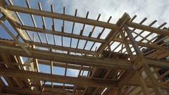 Carpenter house construction Stock Footage