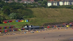 CHALETS BEACH NORTH BAY SCARBOROUGH YORKSHIRE Stock Footage