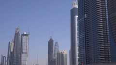 Dubai Marina skyline 4K view business center finance district superb skyscrapers Stock Footage
