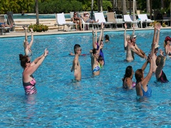 Mexico tropical pool exercise recreation DCI 4K Stock Footage