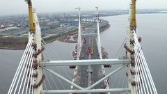 Aerial view of pylons or supports of modern Cable stayed bridge on the Stock Footage