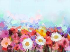 Abstract Oil painting flowers daisy - Gerbera flower in fields Stock Illustration