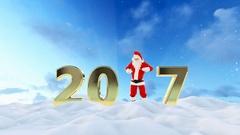 Santa Claus Dancing 2017 text, Dance 5, beautiful winter landscape Stock Footage