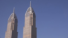 Dubai skyline with twin towers skyscraper business headquarters iconic city 4K Stock Footage