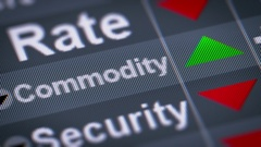 """Commodity"" on the screen. Up. looping. Stock Footage"