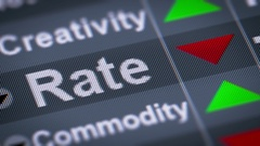 """Rate"" on the screen. Down. looping. Stock Footage"