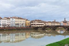 View of Ponte alla Carraia over Arno in autumn Stock Photos