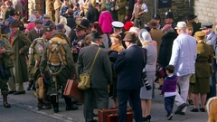 CROWD 1940'S CLOTHED PEOPLE PICKERING YORKSHIRE Stock Footage