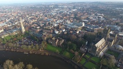 Static aerial view of Worcester city centre, UK. Stock Footage