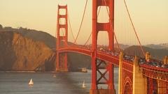 Rush Hour Traffic Flows Golden Gate Bridge Sunset Transit Stock Footage