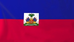 Flag of Haiti waving in the wind, seemless loop animation Stock Footage