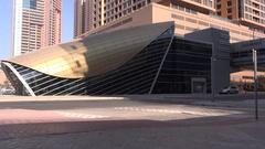 Dubai metro station 4K subway entrance unique construction exterior design sight Stock Footage